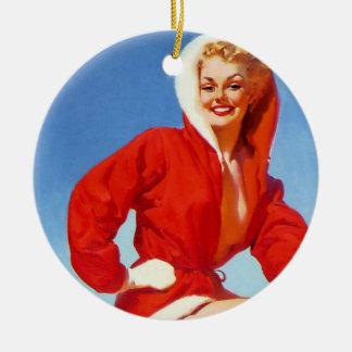 Pin retro del navidad de Gil Elvgren del vintage E Adornos De Navidad