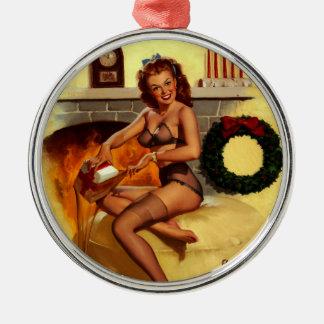 Pin retro del navidad de Gil Elvgren del vintage E Ornamento Para Reyes Magos