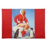 Pin retro del navidad de Gil Elvgren del vintage E Manteles Individuales