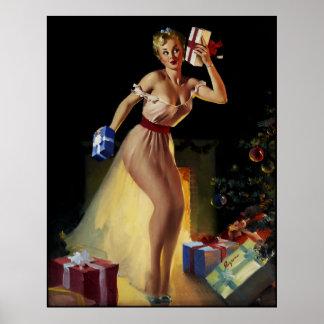 Pin retro del navidad de Gil Elvgren del vintage E Impresiones