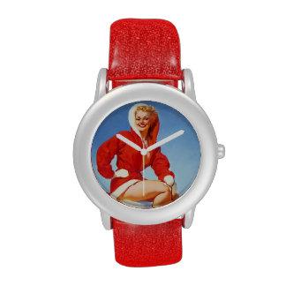 Pin retro del navidad de Gil Elvgren del vintage E Relojes De Mano