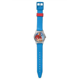 Pin retro del navidad de Gil Elvgren del vintage E Reloj De Mano
