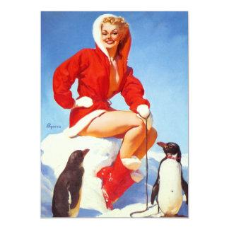 Pin retro del navidad de Gil Elvgren del vintage Anuncio Personalizado