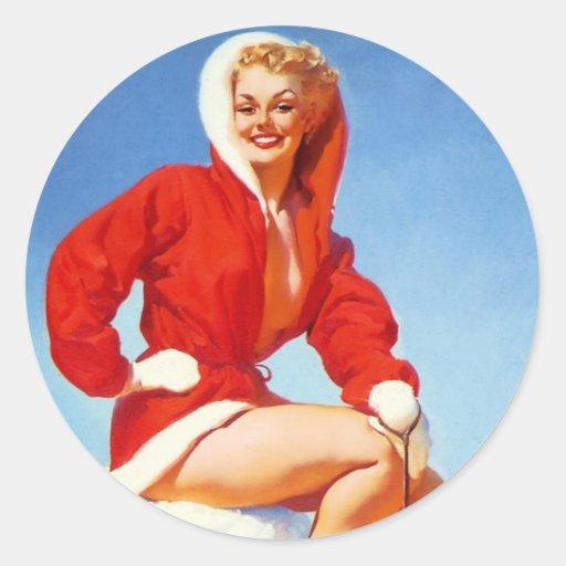 Pin retro del navidad de Gil Elvgren del vintage Etiqueta Redonda