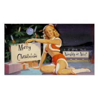 Pin retro del navidad encima de la etiqueta del tarjetas de visita