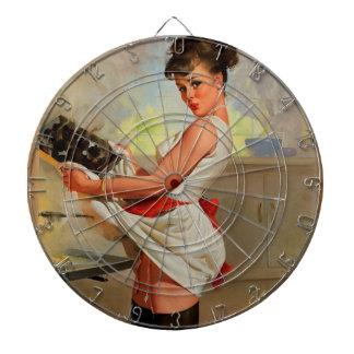Pin retro del panadero de Gil Elvgren del vintage Tablero Dardos