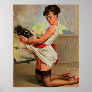 Pin retro del panadero de Gil Elvgren del vintage Poster