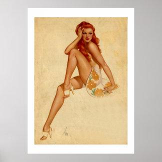 Pin retro del Redhead de Alberto Vargas del vintag Impresiones