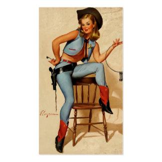 Pin retro del sheriff de Gil Elvgren del vintage e Tarjeta Personal