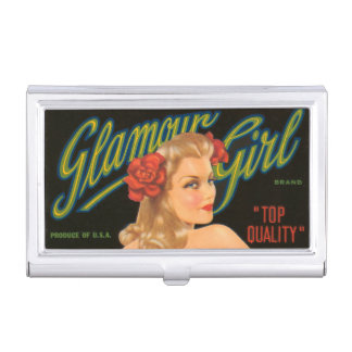 Pin retro del vintage del chica del encanto encima cajas de tarjetas de negocios
