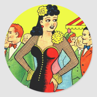 Pin retro del vintage del kitsch para arriba que pegatina redonda