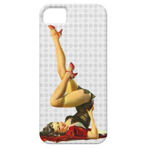 Pin retro encima del chica iPhone 5 Case-Mate carcasas