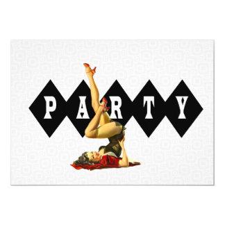 Pin retro encima del fiesta del chica invitación