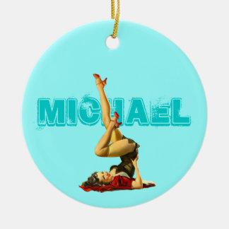 Pin retro encima del ornamento pendiente adorno navideño redondo de cerámica