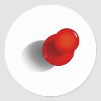 Pin rojo del empuje pegatina redonda