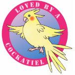 Pin rosado cortado pájaro del Cockatiel Escultura Fotográfica