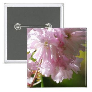 Pin rosado de las flores de cerezo pin cuadrada 5 cm