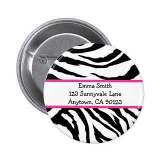 Pin rosado y negro personalizado de la cebra