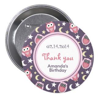 Pin rosado y púrpura del cumpleaños del dibujo ani