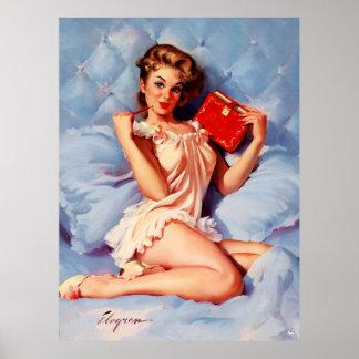 Pin secreto de Gil Elvgren del diario del vintage Posters