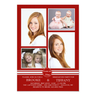 Pin Stripe Four Photo Red Graduation Invitation