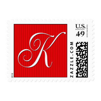 Pin Stripe Red Monogram  - Letter K - Customized Stamps