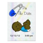 Pin The Date Dark Baby Boy Shower Invitation