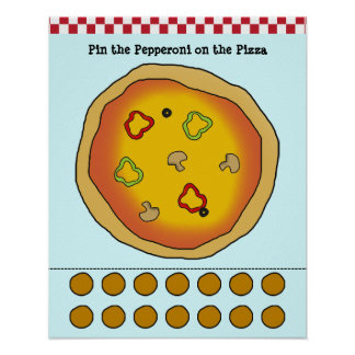 Pin the Pepperoni on the Pizza Game Poster