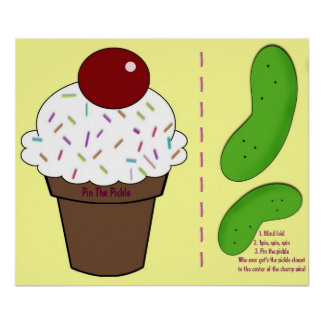 Pin the pickle-baby shower game poster