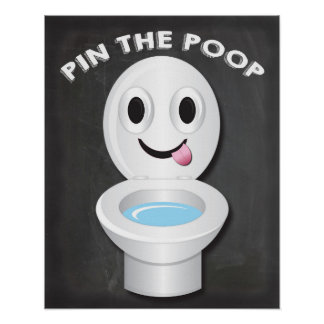 Pin the Poop on the Toilet Emoji Game Poster