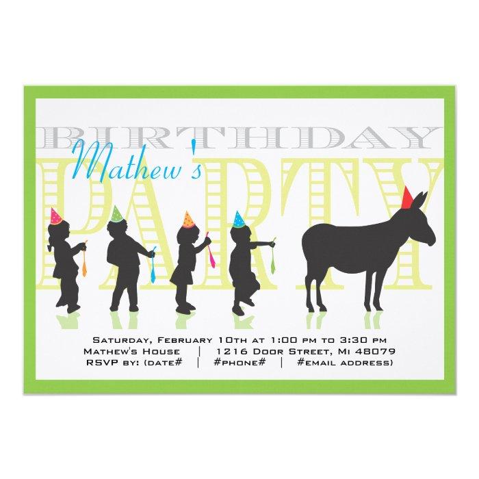Pin the Tail on the Donkey Birthday Invitation : Zazzle