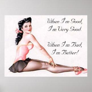 Pin travieso de la bailarina del vintage encima de póster