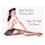 Pin travieso de la bailarina del vintage encima de tarjetas postales