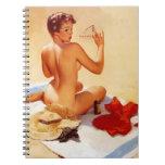 Pin travieso de la belleza de la playa del vintage cuaderno