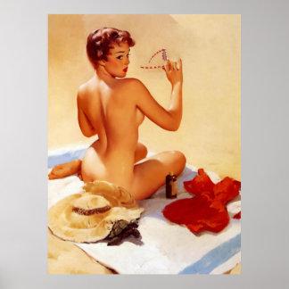 Pin travieso de la belleza de la playa del vintage póster