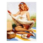 Pin travieso de la comida campestre del vintage en tarjetas postales