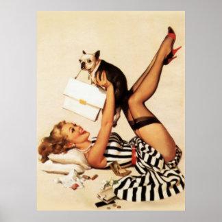 Pin travieso del amor adolescente del vintage enci póster