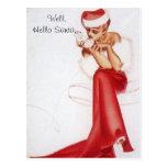 Pin travieso del navidad del vintage hola encima d tarjeta postal