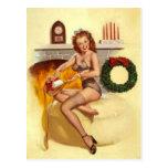 Pin travieso del navidad encima del chica tarjeta postal