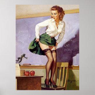 Pin travieso del profesor del vintage encima del póster