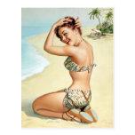 Pin tropical de la playa para arriba tarjetas postales
