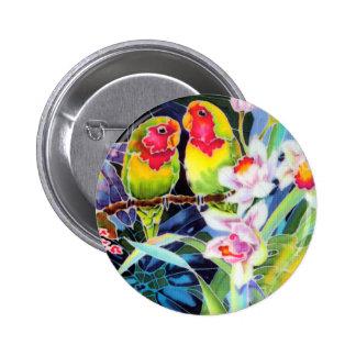 Pin tropical del botón de impresión de las orquíde