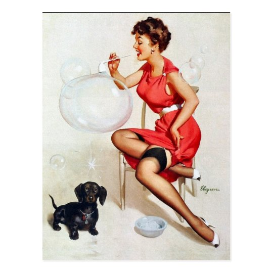 Pin-Up Blowing Bubbles Postcard