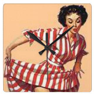 Pin Up Candy Striper Clock