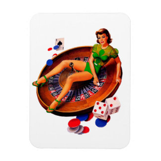 Pin Up Casino Girl Las Vegas Rectangular Magnet