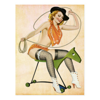 Pin up Cow Girl Postcard