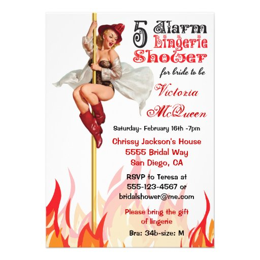 Pin up Fire Pole Lingerie Party Invitation