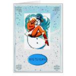 PIN UP GIRL AND SNOWMAN CHRISTMAS CARD