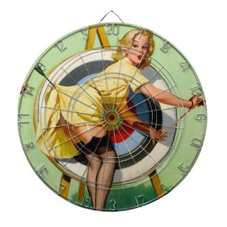 Pin Up Girl Archery Bulls-Eye Vintage Poster Dartboard With Darts