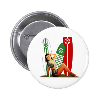 Pin-up girl Basque France 2 Inch Round Button